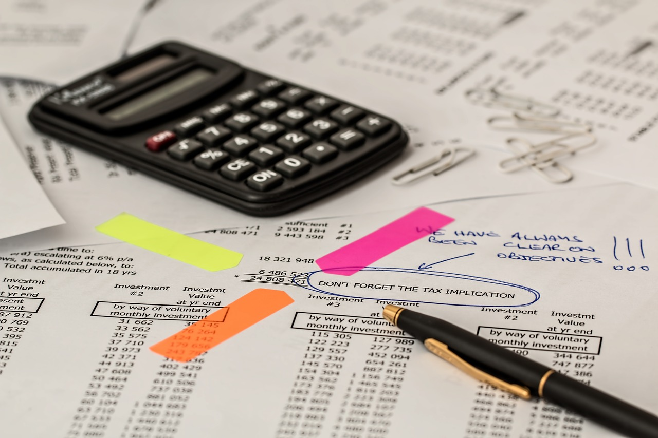 Financial planning recorded on paper